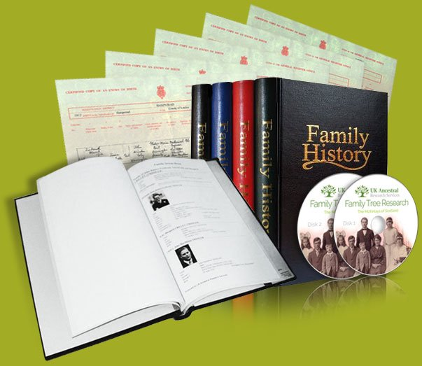 Contains your family tree and history album including two CD's from Uk Ancestral Research